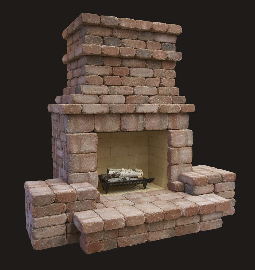 Summit stone outdoor fireplace kits standard for Precast concrete outdoor fireplace kits