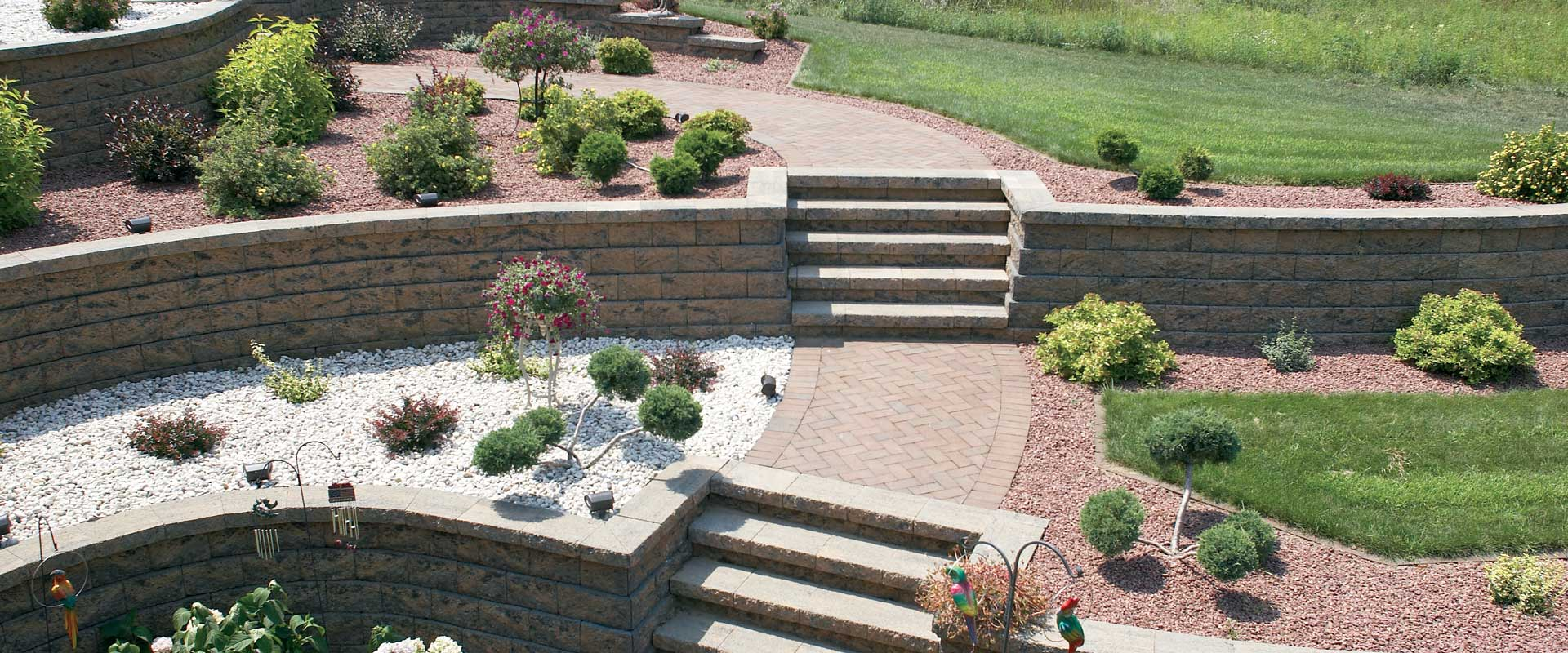 County block for Retaining wall plants landscaping