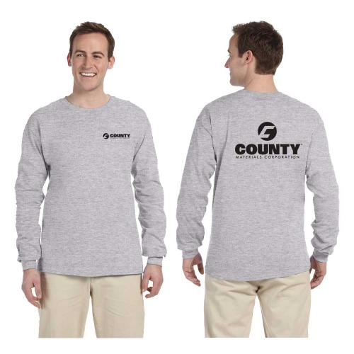 c79194ab Gildan Ultra Men's Long Sleeve T-Shirt with left chest and back logo:  2X-Large Sport Gray