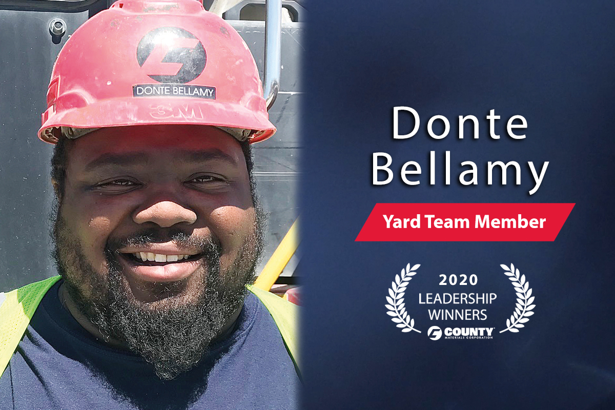 County Materials Congratulates Donte Bellamy – 2020 First Quarter Leadership Award Winner