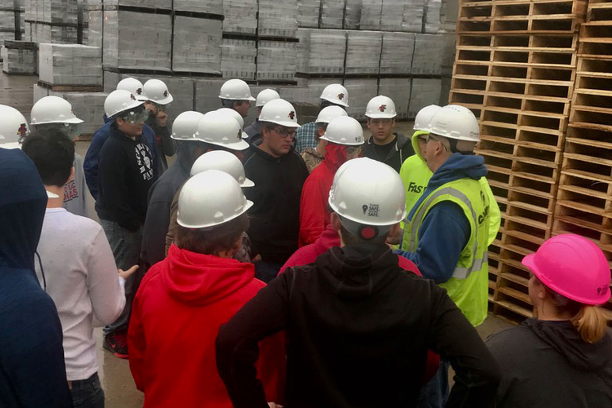 Fond du Lac Students Interested in the Construction Industry Tour County Materials' Block Plant