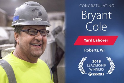 County Materials Congratulates Bryant Cole—2018 Fourth Quarter Leadership Winner