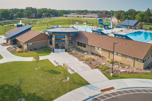Community Park and Pool Revitalized with County Stone and Heritage Collection Concrete Brick