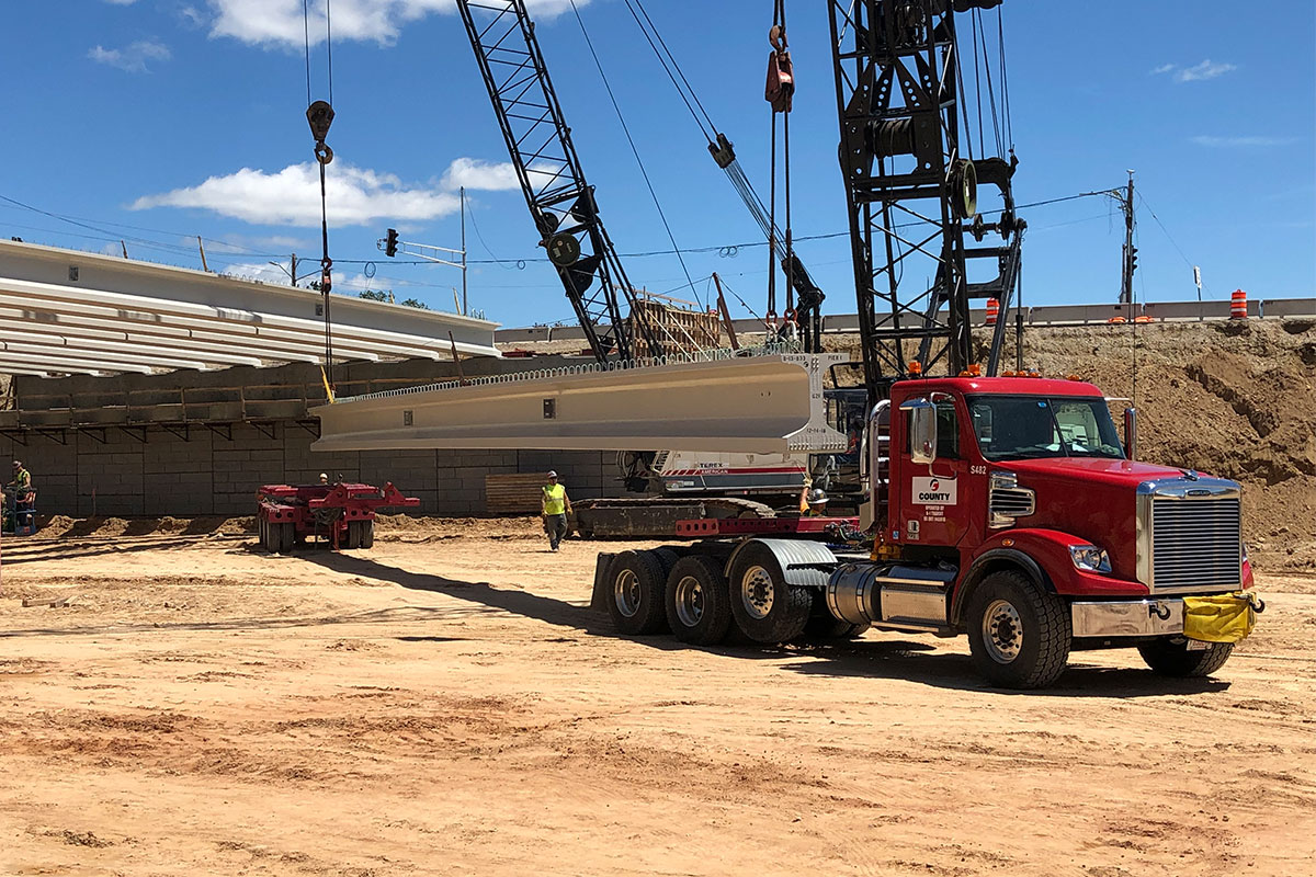 County Materials Delivers 22 Girders in a Single Day