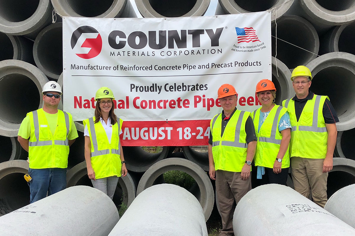 Concrete Pipe Week: State Leaders Visit County Materials' Holmen, WI Pipe Manufacturing Facility
