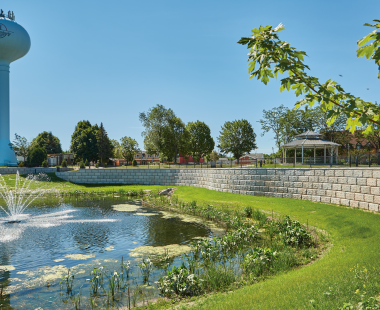 Rib Rock™ Landscape Blocks Reduce Cost and Speed Up Installation for Village of Kimberly's Memorial Pond Park