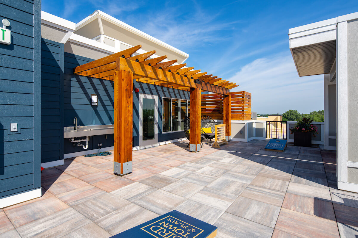 Modern Apartment Complex Utilizes Skylands Concrete Deck Pavers  to Enhance Value and Increase Living Space