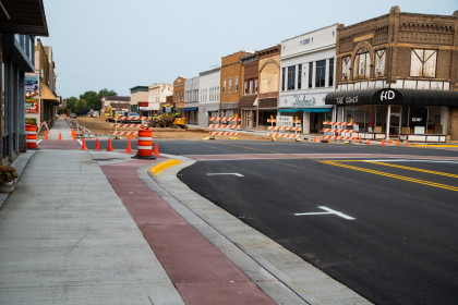 Colored Ready-Mix Concrete Revitalizes Historic Downtown Paying Homage to Local Mascot