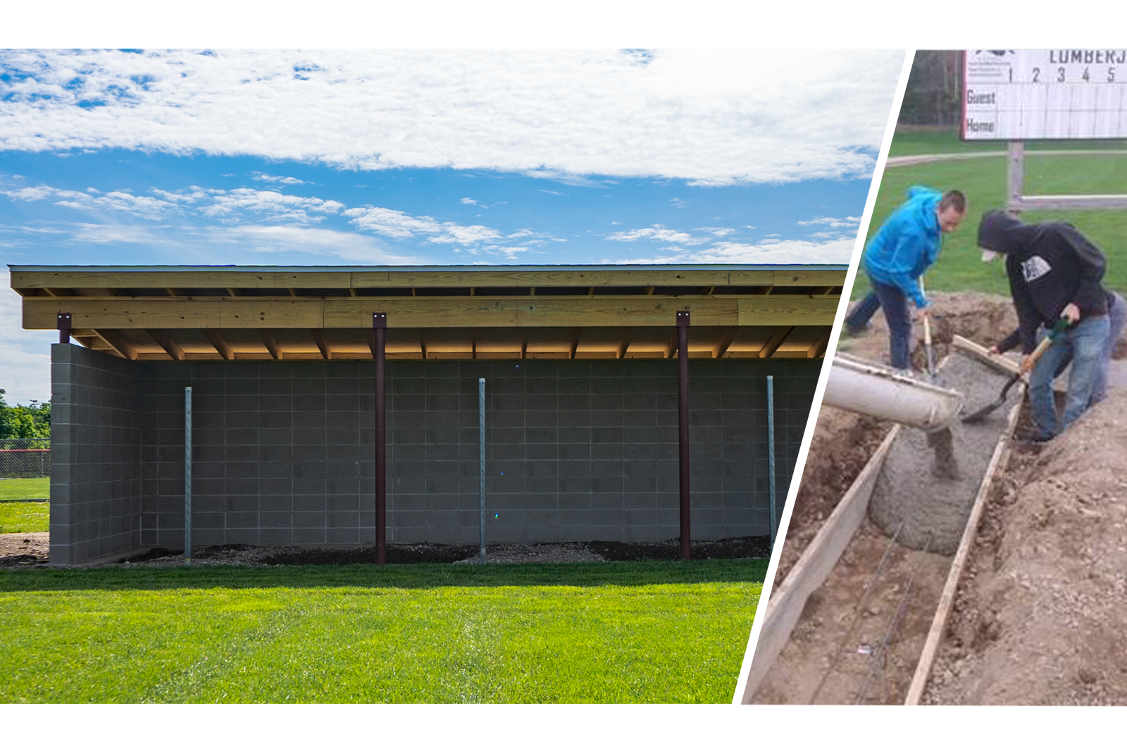 Wausau East High School Students Build Dugouts with Concrete Masonry Unit Donation from County Materials Corporation