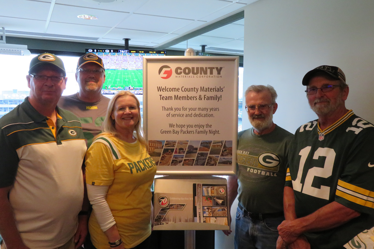 County Materials Celebrates Longtime Employees at Green Bay Packer Family Night