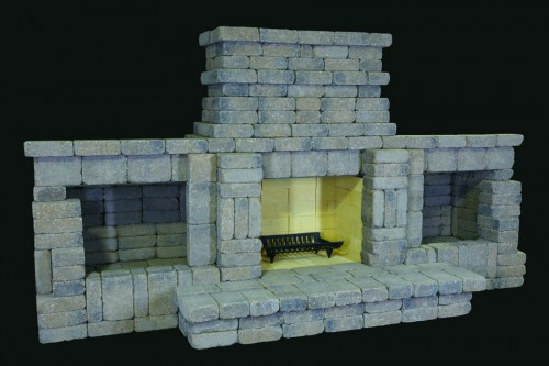 Summit Stone Outdoor Fireplace Kits – Double Woodbox