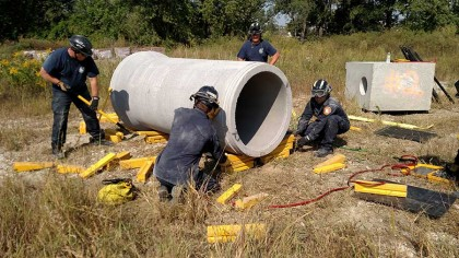 Iowa City Fire Department Simulates Technical Rescue Techniques with Donated Concrete Materials