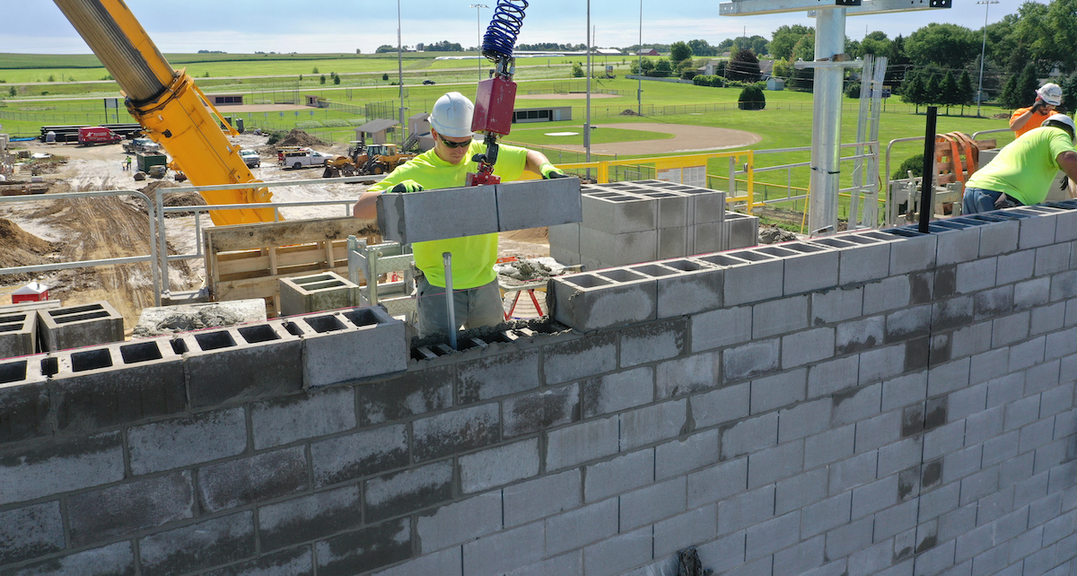 """County Materials' Oversized 32"""" Concrete Masonry Units Are the Key to Installation Efficiency"""