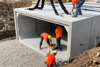 Box Culvert Installation Aides in Purdue University Aerospace District Expansion