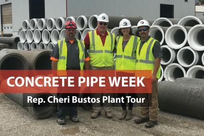 County Materials Hosts Congresswoman Cheri Bustos for Concrete Pipe Plant Tour