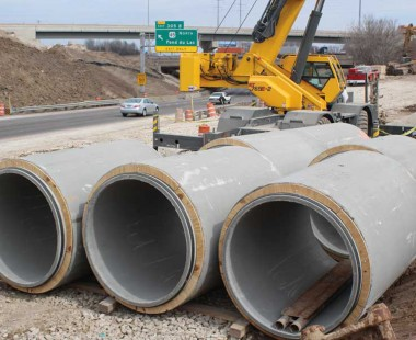 Concrete Pipe and Bridge Girders from County Materials Support Wisconsin's Largest Public Works Project
